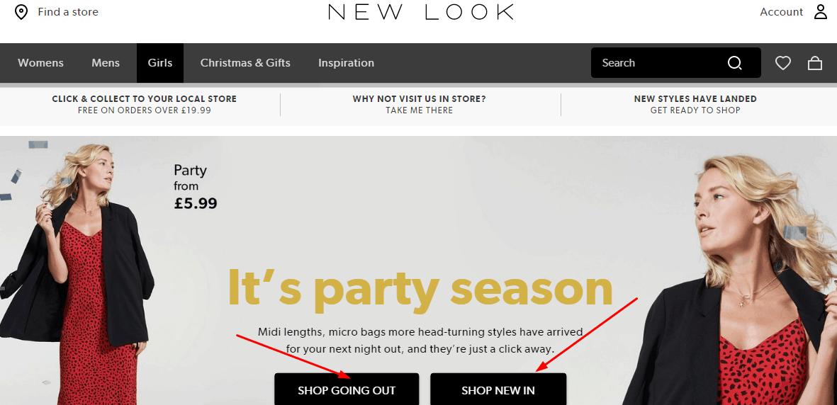 New Look 網站  2019聖誕節優惠 購服飾 全場正價男裝即享75折/購£30電子禮品卡即可獲£5優惠券