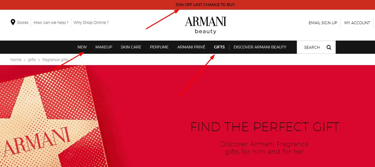 阿瑪尼英國官網 聖誕禮盒最低7折/購滿80英鎊送阿瑪尼黑色化妝包一個