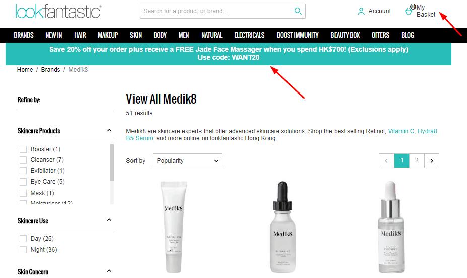 Lookfantastic優惠碼2020, 英國Medik8護膚品, 罕有快閃78折優惠, 適合任何皮膚類型