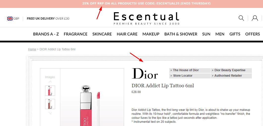 Escentual官網2020優惠碼,  全場無門檻75折促銷,Dior超糢染唇液唇釉 421奶茶色售價£28