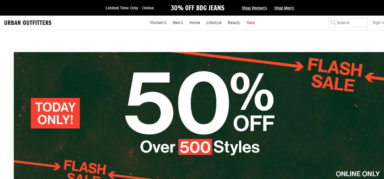 Urban Outfitters美國官網2020優惠碼, 精選服飾鞋包額外5折閃促, 訂單滿$50美國境內免運費