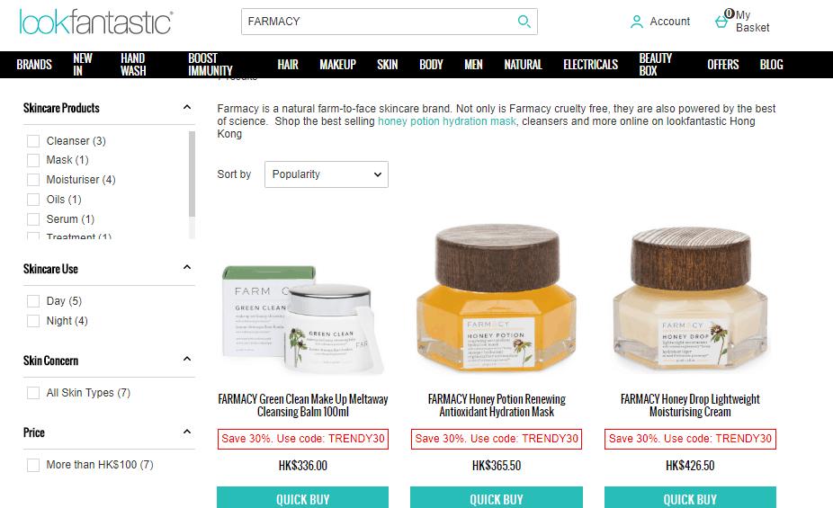 英國網lookfantastic超抵7折優惠, 2020護膚品優惠碼, Farmacy護膚品7折後HK$256,原價HK$366