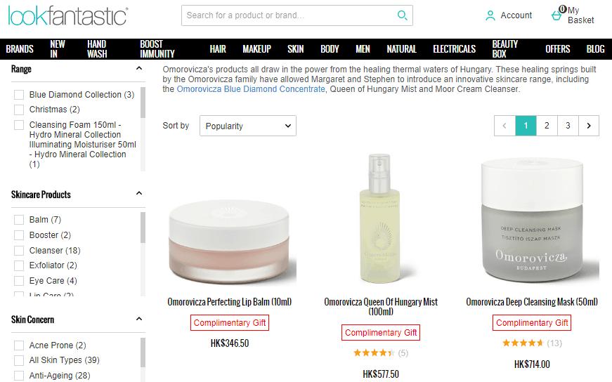 Lookfantastic網站限時75折優惠碼2020, 購匈牙利天然護膚Omorovicza 75折完最低只要HK$206